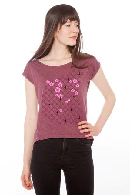 Shirt mit Kirschblüten rot